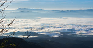 Layers of mountain and fog Royalty Free Stock Photo