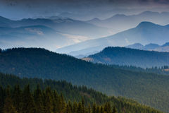 Layers of mountain. Layers of mountain and haze in the valleys Stock Photo