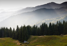 Layers of mountain and haze in the valleys. Royalty Free Stock Photography