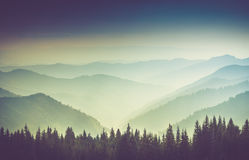 Layers of mountain and haze in the valleys. Royalty Free Stock Photos