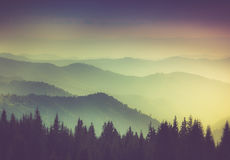 Layers of mountain and haze in the valleys. View Layers of mountain and haze in the valleys Royalty Free Stock Photography