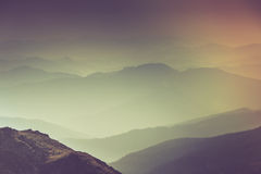 Layers of mountain and haze in the valleys. Royalty Free Stock Images