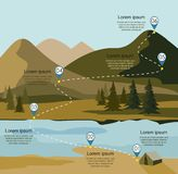 Layers of mountain landscape with fir forest and river. Tourism route infographic. Vector illustration Royalty Free Stock Images