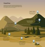 Layers of mountain landscape with fir forest. Tourism route infographic. Vector illustration Royalty Free Stock Image