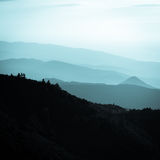 Layers of mountains during beautiful sunset. stock photography