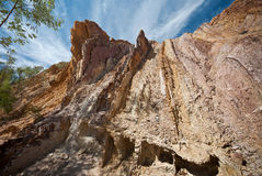 Layers of natural ochre deposites. An image of natural ochre layers at The Ochre Pit, West Macdonnell Ranges, Northern Territories, Australia - popular tourist Stock Photos