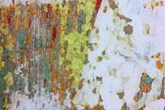 Layers of Old Paint. Layers of different coloured paints on a old wall. The paint is worn and flakey has an abstract, aged texture royalty free stock photos