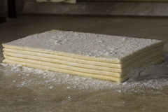 Layers raw puff pastry Stock Photos