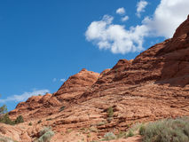 Layers on a red sandstone cliff Royalty Free Stock Photo