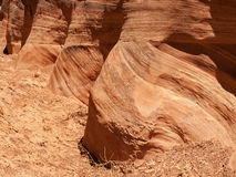 Layers on a red sandstone cliff Stock Photos