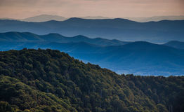 Layers of ridges of the Blue Ridge Mountains, seen from Stony Ma. N Mountain, Shenandoah National Park, Virginia royalty free stock photo