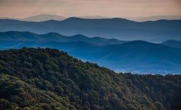 Layers of ridges of the Blue Ridge Mountains, seen from Stony Ma. N Mountain, Shenandoah National Park, Virginia Royalty Free Stock Photo