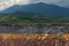The layers of road. The layers of road with mountain and forest Royalty Free Stock Images