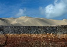 The layers of road. The layers of road with sand mountain and sky Royalty Free Stock Photo