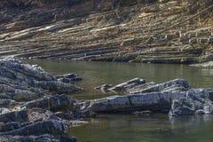 Rock layers along Mountain Fork River, Oklahoma Royalty Free Stock Photos