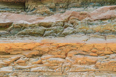 Layers of rock from geology changes Royalty Free Stock Images