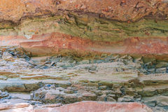 Layers of rock from geology changes Stock Photos