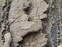 Layers of rock and sediment on the coastal rock Stock Images