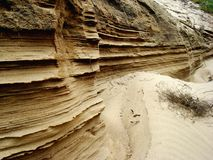 Layers of Sand. Hundreds of layers of sand created by erosion Royalty Free Stock Image