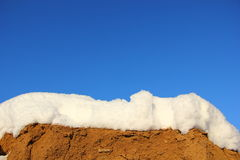Layers of sand, snow, sky. Three layers, three patterns in one photo, yellow sand, white snow, blue sky Stock Photography