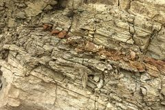 Layers of sedimentary rock formed on the earth`s surface. Outcrops on the southern coast of the Azov sea. Taman Peninsula, Temryuk. District, Krasnodar region royalty free stock images