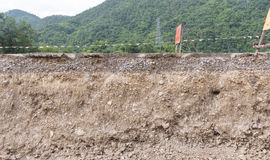Layers of soil. That is compacted in road construction Stock Photography