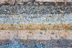 Layers soil and rock of traffic road, Layer soil paving, Layer o Royalty Free Stock Photography