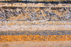 Layers soil and rock of traffic road, Layer soil paving, Layer o Royalty Free Stock Images