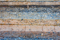 Layers soil and rock of traffic road, Layer soil paving, Layer o Royalty Free Stock Photo