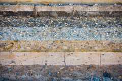 Layers soil and rock of traffic road, Layer soil paving, Layer o Stock Image
