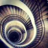 Layers. Spiral staircase in the Deutsches Museum stock photography
