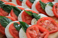 Layers of tomatoes and thick mozzarella Royalty Free Stock Photography