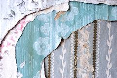 Layers of torn wallpaper Stock Photography