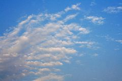 Layers of white cloud on blue sky. Close up Layers of white cloud on blue sky royalty free stock photography