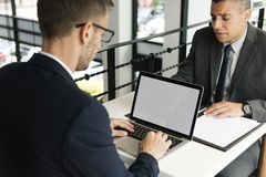 Layerspace Laptop Business Men Restaurant Concept Royalty Free Stock Image