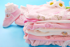 Layette for baby girl Royalty Free Stock Images