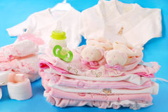 Layette for baby girl Stock Image