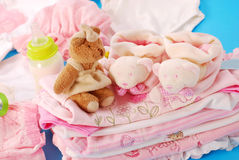 Layette for baby girl Royalty Free Stock Image