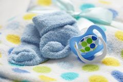 Layette for newborn baby boy Stock Photo