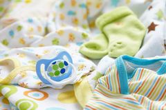 Layette for newborn baby boy royalty free stock image