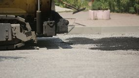 Laying Asphalt Special Equipment stock footage