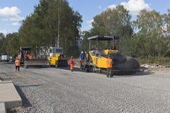 Laying of asphalt on the street Embankment in Veliky Ustyug, Vologda region Royalty Free Stock Photos