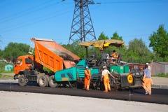 Laying asphalt Stock Photo