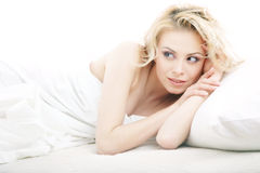Laying attractive blond Royalty Free Stock Photography