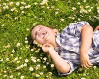 Laying boy Royalty Free Stock Image