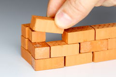 Laying a brick Royalty Free Stock Photo