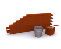 Laying bricks and trowel Royalty Free Stock Images
