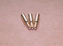 The laying cartriges 308 Winchester caliber with soft point bullets Stock Photos