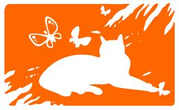 Laying cat and butterflies Stock Photo