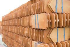 Laying ceramic tile stacked. Stock Image